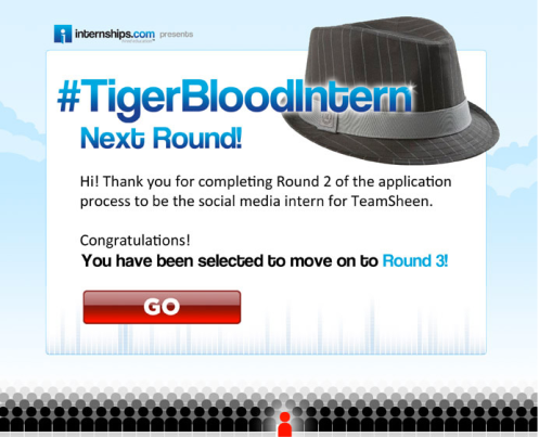 Personal invitation Charlie Sheen's #Tigerblood Internship, round 3